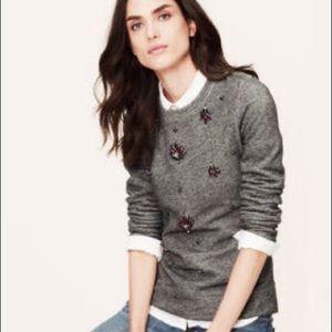 LOFT gray jewel embellished crew neck sweater